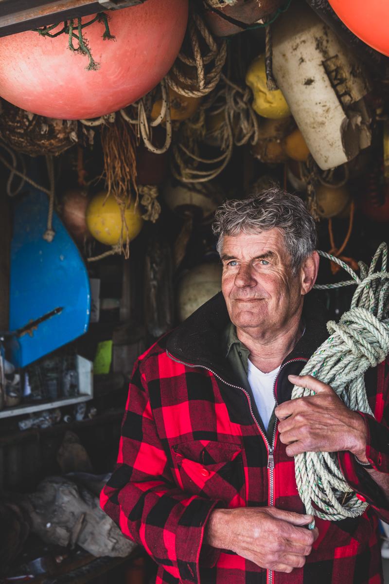 Oude visser op haven